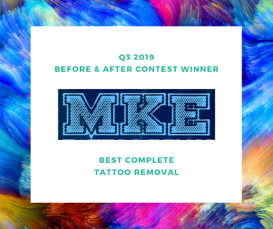 Q3 2019 Before and After winner - Best Complete Tattoo Removal Photo