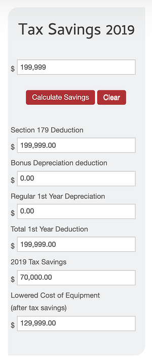 Section 179 Tax Savings Calculator