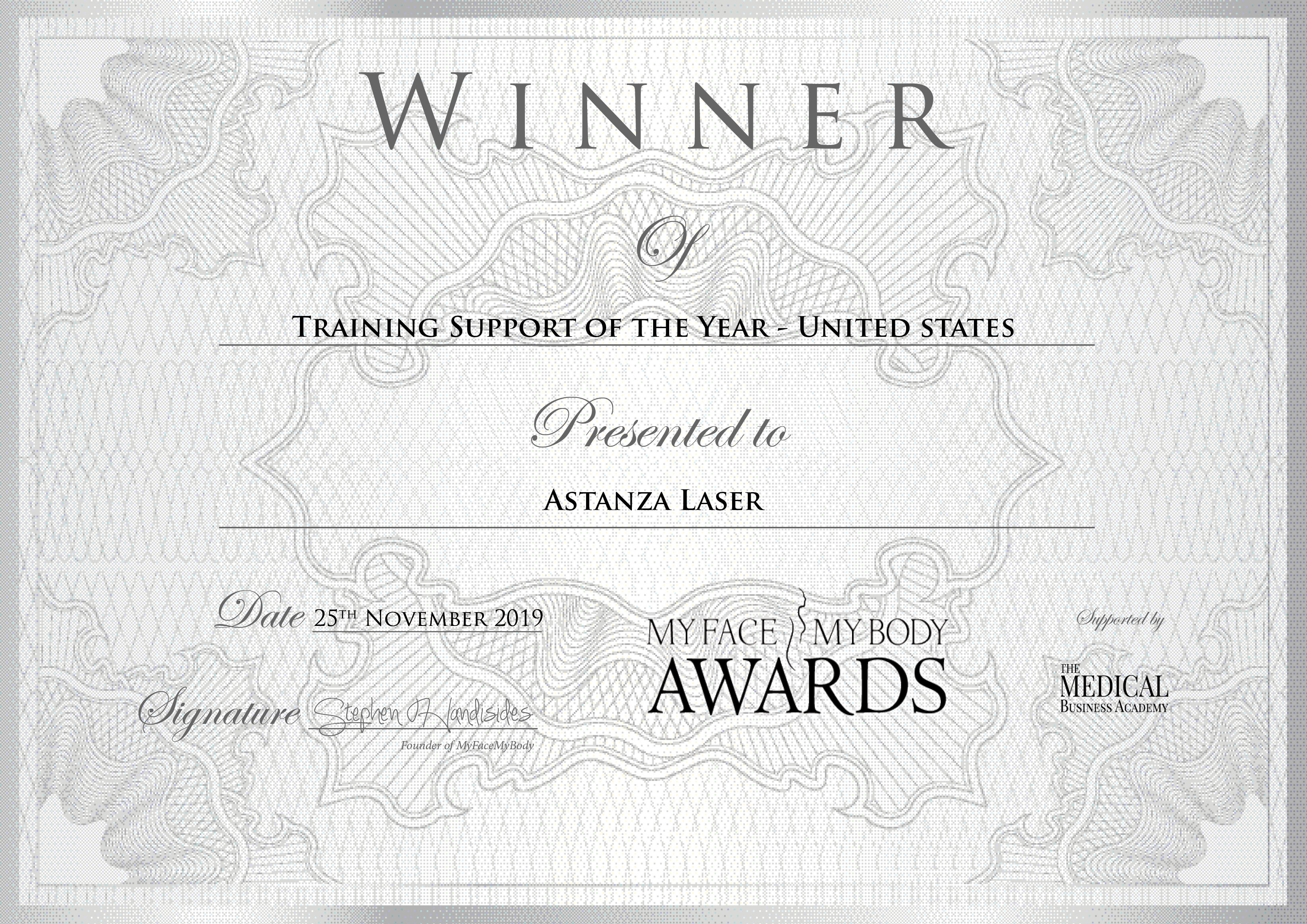 MyFaceMyBody Awards Astanza Training Support of the Year
